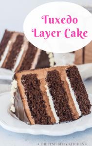 pinterest image for tuxedo cake