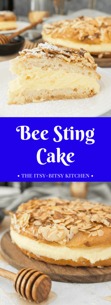 pinterest image for bee sting cake with text overlay