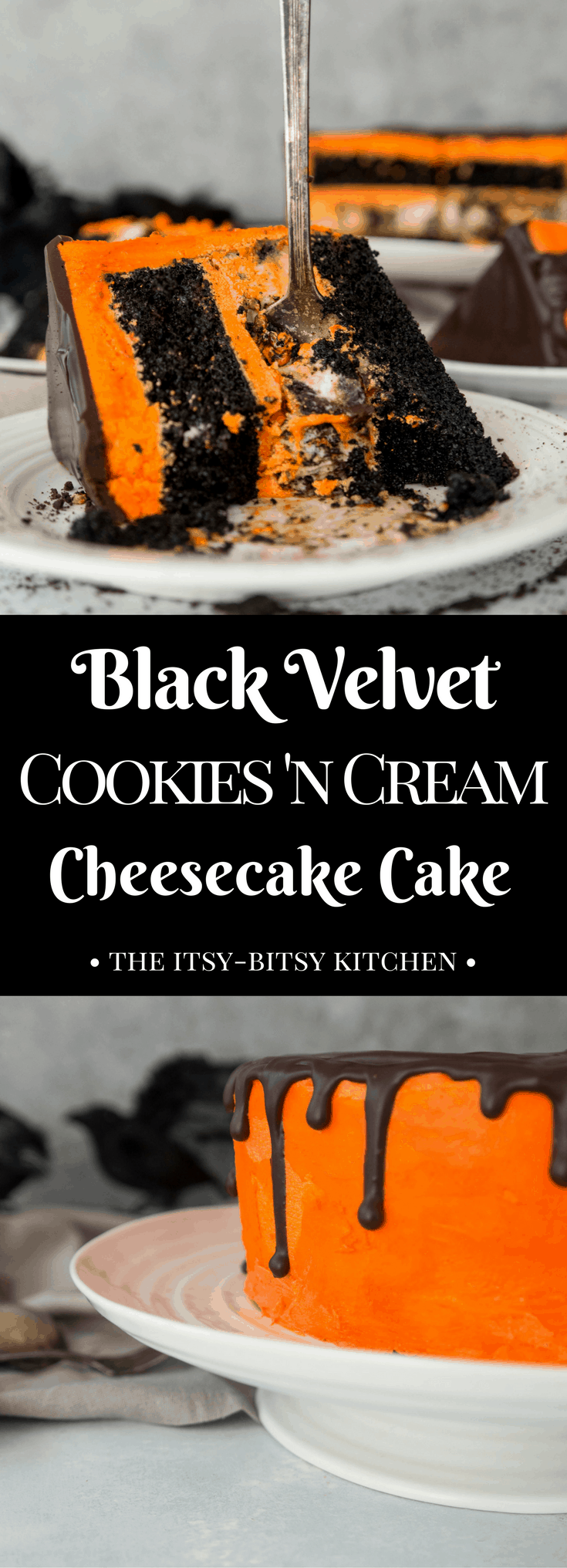 Black velvet cookies and cream cheesecake cake is a delicious dessert for your Halloween party! chocolate cake, Oreo cheesecake, vanilla frosting--what more could you ask for? recipe and how to via itsybitsykitchen.com #Halloween #cheesecake #cake