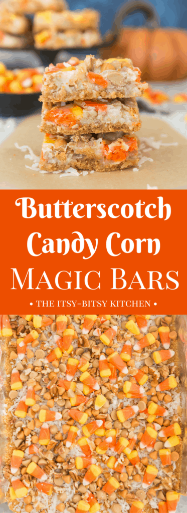 pinterest image for butterscotch candy corn magic bars with text overlay