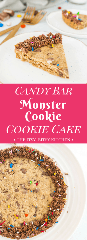 Pinterest image for candy bar monster cookie cookie cake with text overlay