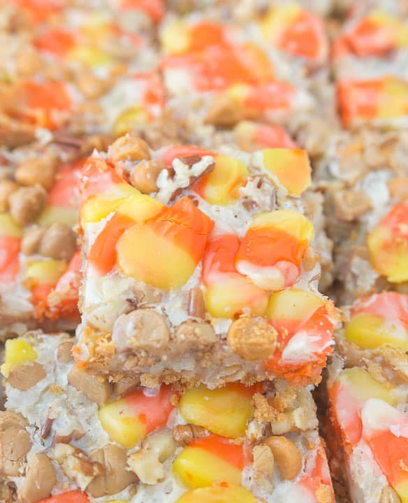 overhead photo of sliced butterscotch candy corn magic bars