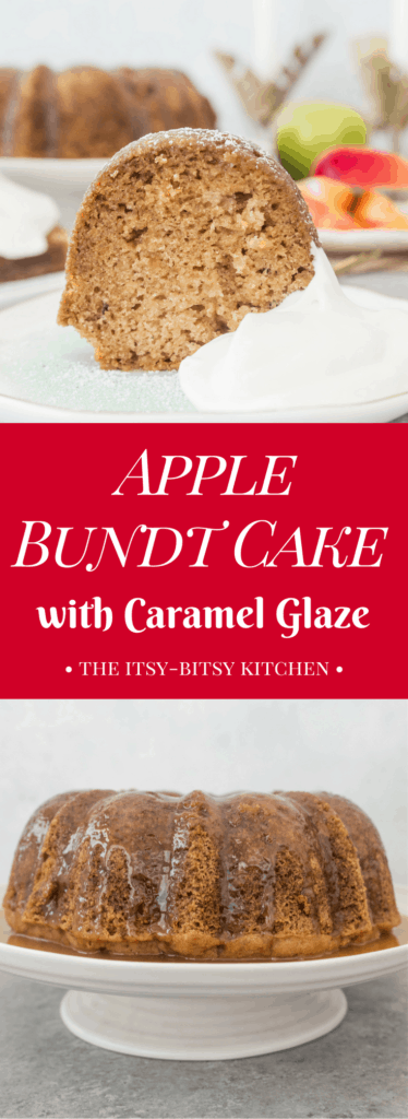Pinterest image for fresh apple bundt cake with text overlay