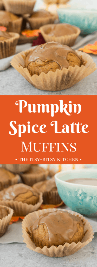 Pinterest image for pumpkin spice latte muffins with text overlay