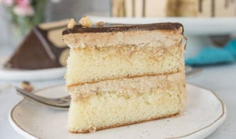 White Chocolate Layer Cake with Hazelnut Espresso Buttercream