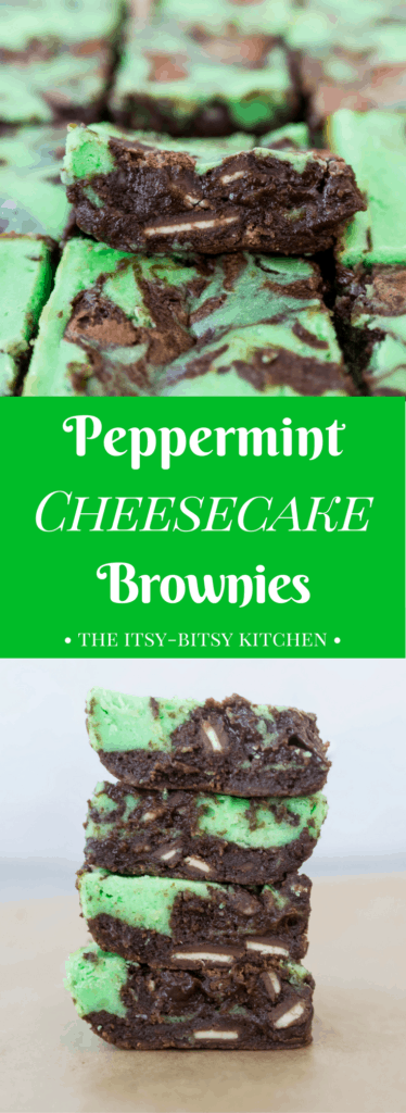 pinterest image for peppermint cheesecake brownies with text overlay