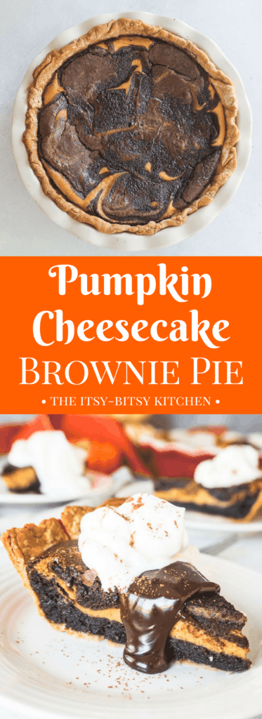 pinterest image for pumpkin cheesecake brownie pie with text overlay