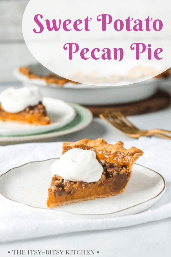Pinterest image for sweet potato pecan pie with text overlay