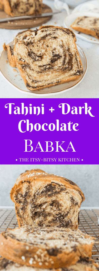 Pinterest image for tahini + dark chocolate babka with text overlay