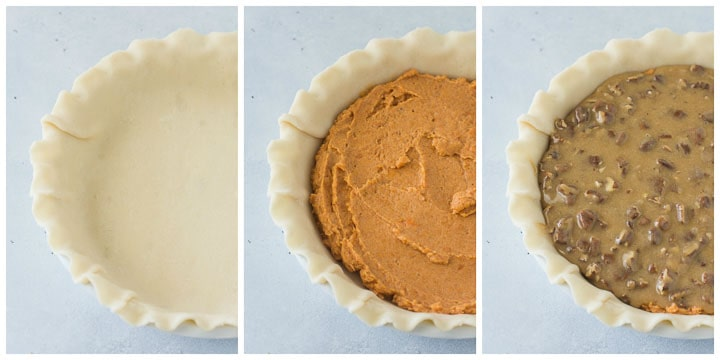 how to assemble sweet potato pecan pie step by step
