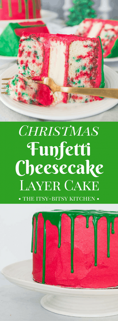 pinterest image for Christmas funfetti cheesecake layer cake with text overlay