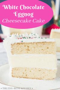 pin image for white chocolate eggnog cake