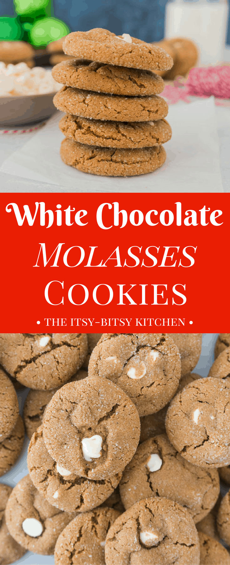 White chocolate molasses cookies are chewy, full of holiday spices, and they make a delicious addition to your Christmas cookie trays. This recipe is a keeper! #molassescookies #cookies #Christmascookies