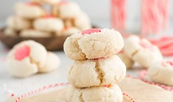 White Chocolate Peppermint Thumbprint Cookies