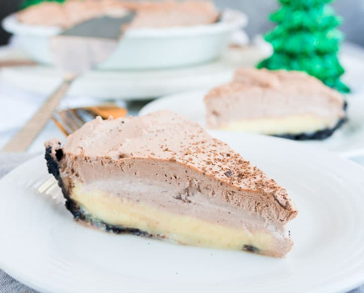 slice of chocolate eggnog cream pie on a plate