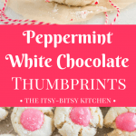 White chocolate peppermint thumbprint cookies include a crunchy and crumbly shortbread base and a buttery white chocolate peppermint filling made with candy canes. These will become a new favorite on your Christmas cookie tray! recipe via itsybitsykitchen.com #Christmascookies #whitechocolate #peppermint