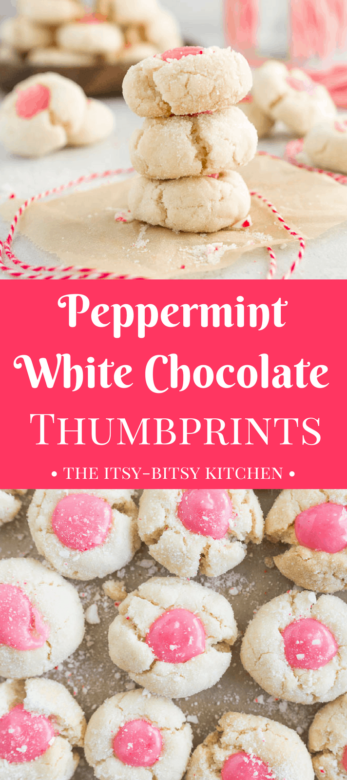 White chocolate peppermint thumbprint cookies include a crunchy and crumbly shortbread base and a buttery white chocolate peppermint filling made with candy canes. These will become a new favorite on your Christmas cookie tray!  #Christmascookies #whitechocolate #peppermint