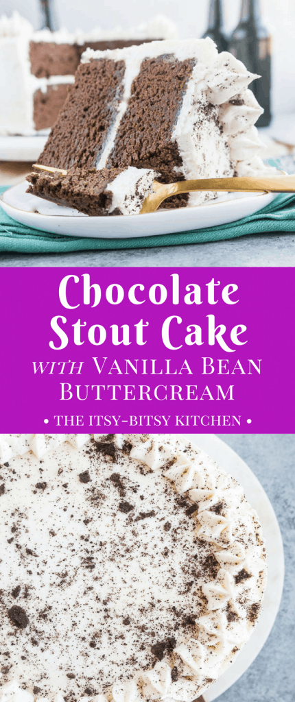 This decadent chocolate stout cake with fluffy vanilla bean buttercream is a chocolate-lover's (and beer-lover's) dream! It's a delicious St. Patrick's Day dessert recipe via itsybitsykitchen.com #chocolatecake #stpatricksday #layercake