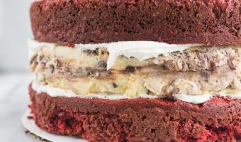 Red Velvet Chocolate Chip Cheesecake Layer Cake