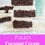 Paleo coconut cream brownies are gluten-free, refined sugar-free, and flour-free but they're still 100% decadent and delicious. You'll never miss the sugar! #paleo #paleodessert #glutenfree #sugarfree #brownies