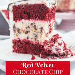Pinterest image for red velvet chocolate chip cheesecake layer cake with text overlay