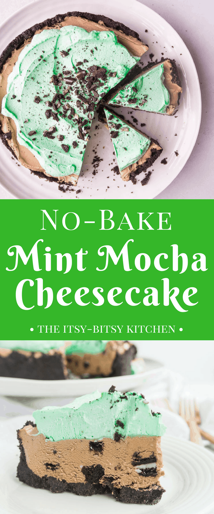 Easy no bake mint mocha cheesecake features a creamy mint mocha cheesecake filled with Oreo cookies topped with cool and minty whipped cream. It's a delicious and refreshing summer dessert! recipe via itsybitsykitchen.com #nobake #cheesecake #chocolatemint