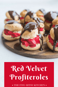 Pinterest image for red velvet profiteroles with text overlay