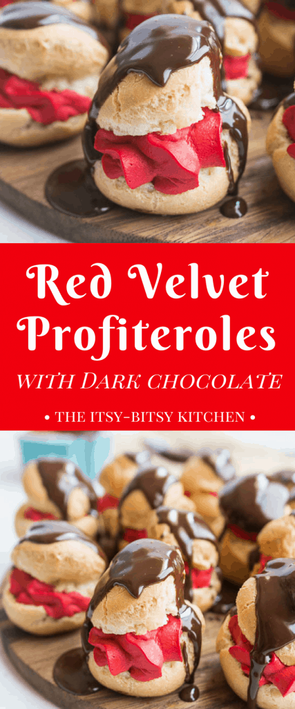 long pin for Pinterest featuring text with the post title and two photographs of red velvet profiteroles with dark chocolate glaze dripping down