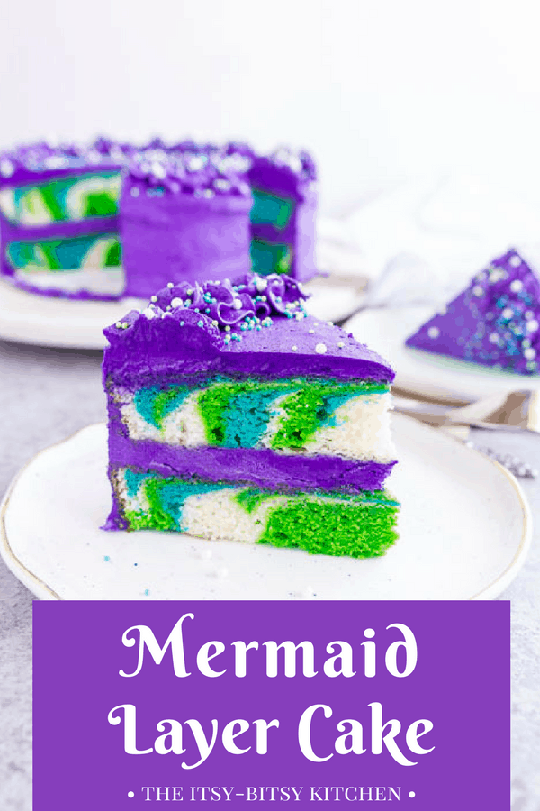 Pinterest image of a slice of mermaid layer cake sitting on a plate with the cake behind it