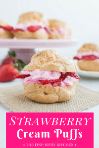 "Pinterest image of a cream puff sitting on a piece of burlap with text overlay that says ""strawberry cream puff"""