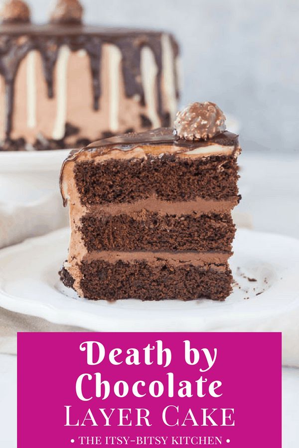 Pinterest image for death by chocolate cake with text overlay