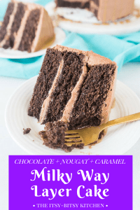 Pinterest image for chocolate caramel cake (Milky Way cake) with a piece of cake and text overlay