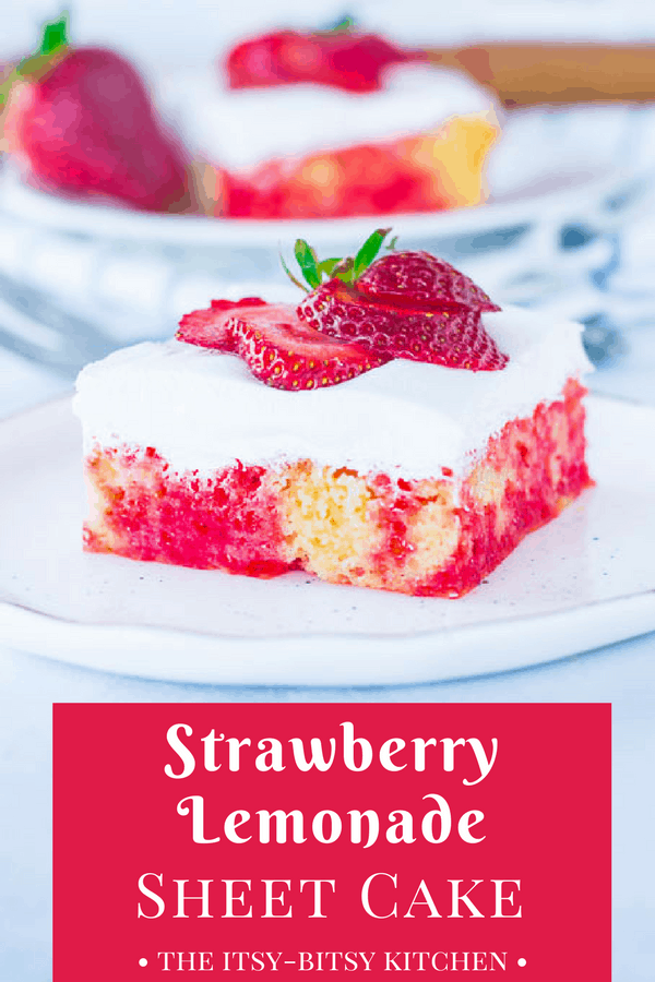 Pinterest image for easy strawberry lemonade cake with text overlay