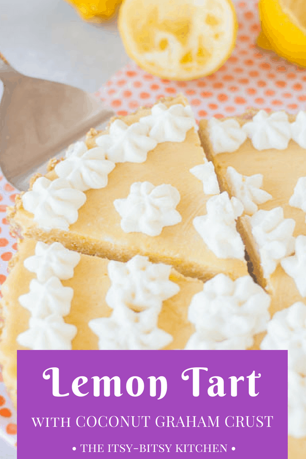 Pinterest image for lemon tart with text overlay
