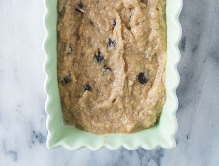 overhead shot of paleo chocolate chip banana bread before it goes into the oven