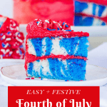 Pinterest image for fourth of July cake with text overlay