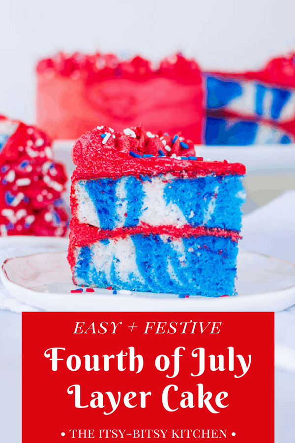 Fourth of July cake is a necessary addition to your summer barbecues. Totally easy and simple to make, it's still fun and patriotic! recipe and how to via itsybitsykitchen.com #fourthofjuly #independenceday #cake