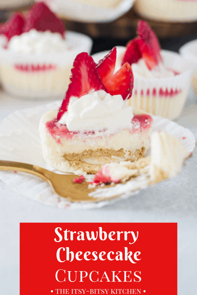 Pinterest image for strawberry cheesecake cupcakes with text overlay