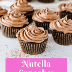 Pinterest image for Nutella cupcakes with text overlay