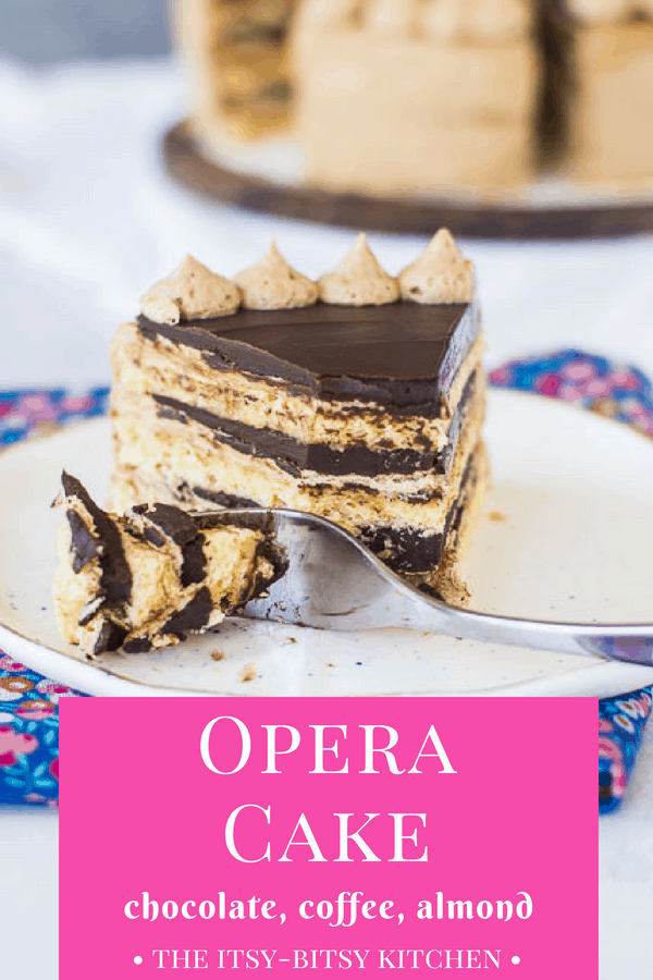 Pinterest image for opera cake with text overlay