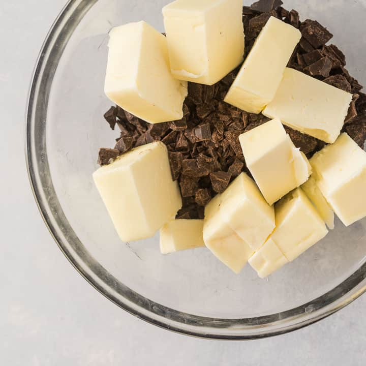 chocolate and butter for the flourless brownies before they're melted together