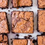 overhead photo of the sliced flourless brownies