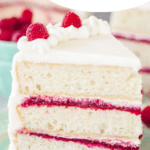 pin image for white chocolate raspberry cake