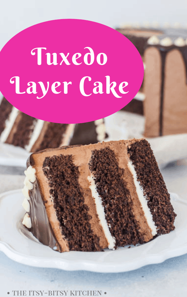 Pinterest image for tuxedo cake with text overlay