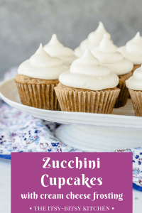 Pinterest image for zucchini cupcakes with cream cheese frosting with text overlay