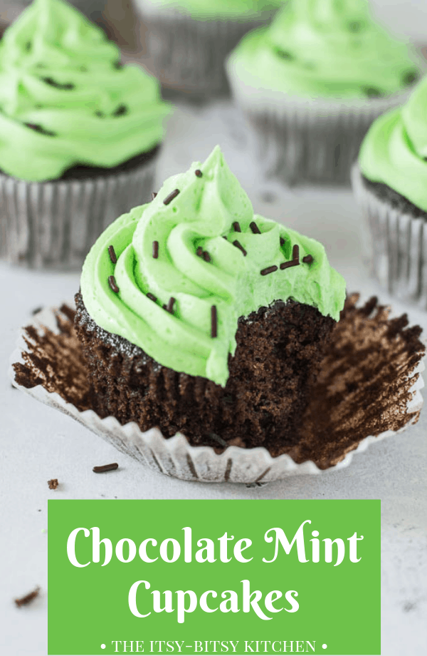 Pinterest image for chocolate mint cupcakes with text overlay