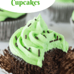 pin image for chocolate mint cupcakes