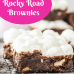 pinterest image for easy rocky road brownies