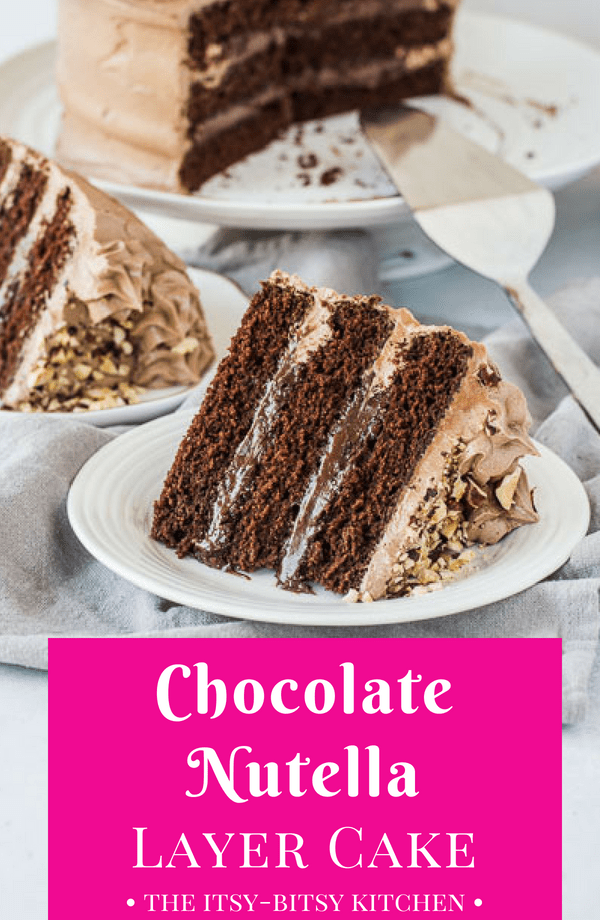 Pinterest image for chocolate Nutella cake with text overlay