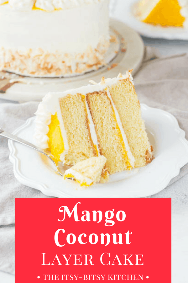 Mango coconut cake is made with fluffy coconut cake layers sandwiching homemade mango curd, topped with creamy coconut buttercream. It's a delicious tropical twist on regular coconut layer cake! This recipe is a keeper for sure.  #coconut #coconutcake #layercake